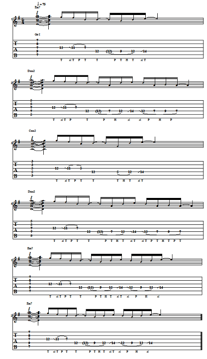 chord progression with tapping melody